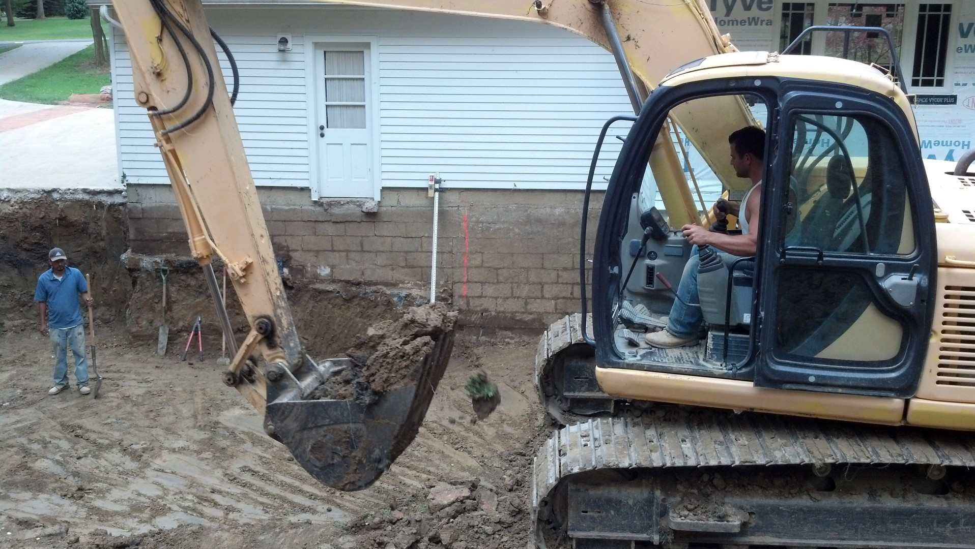 Excavating Basement Foundation in Chagrin Falls, Ohio.