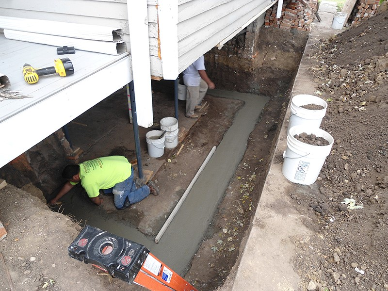Foundation repair contractor. Replacing a Basement Wall of a home.