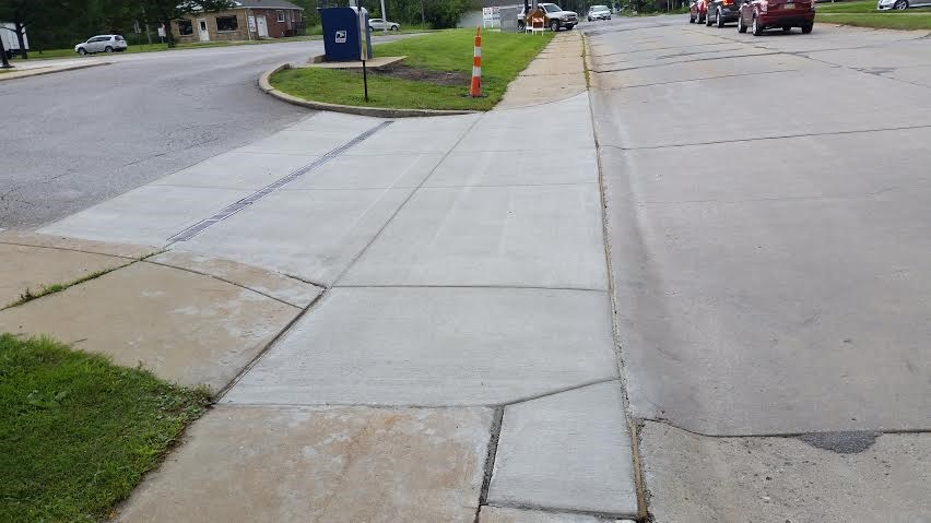 Concrete street apron with trench drain in Chardon, Ohio.
