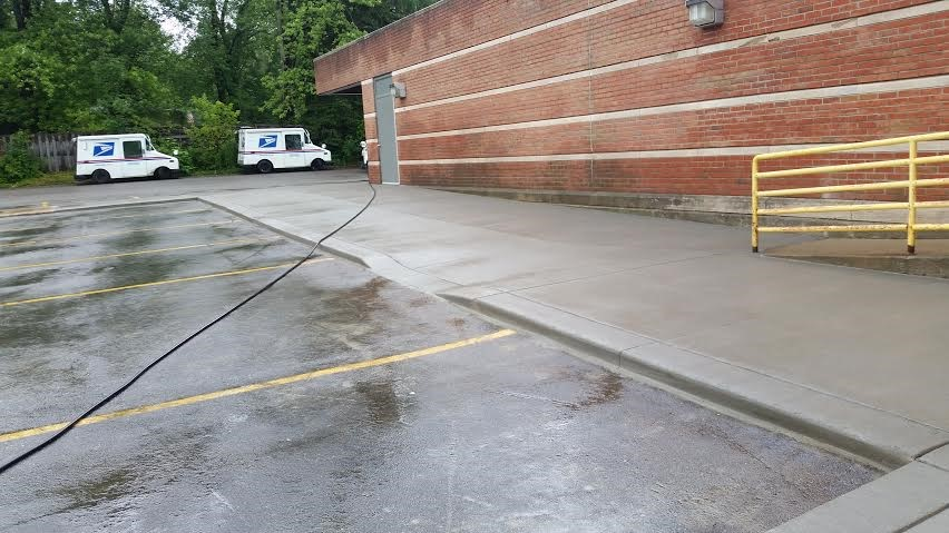 Concrete ramps at the US postal service.