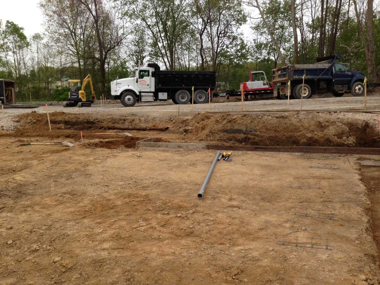 Excavation for a foundation for a new commercial building