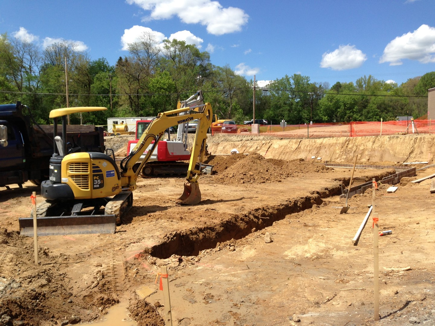 Excavating footers for a new masonry foundation