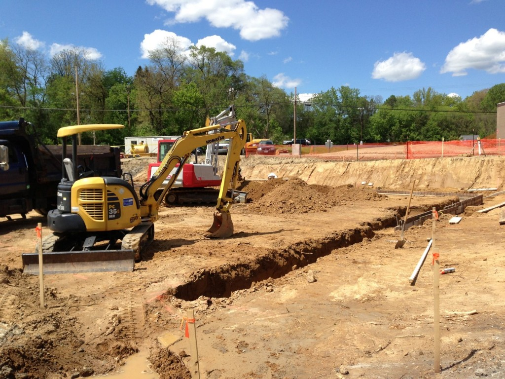 Excavation of footers for a new build.