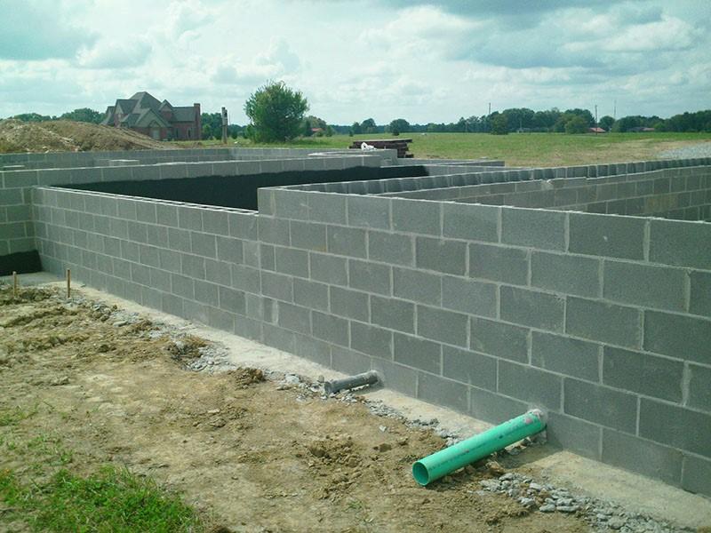 New home basement concrete block foundation
