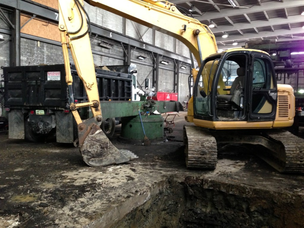 Commercial excavation project in a manufacturing plant.