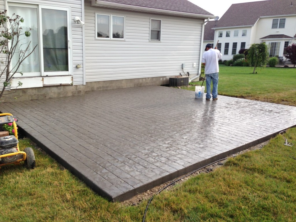 sealing a stamped concrete patio.