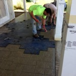 Stamping concrete  with ashlar slate pattern.