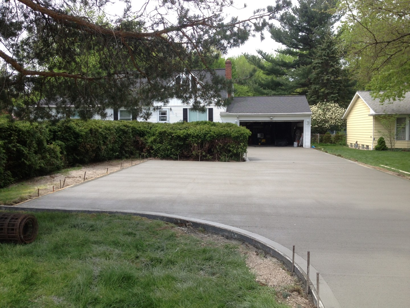 Cement driveway paving