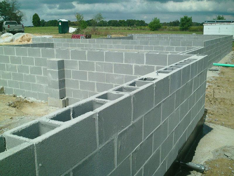 Masonry block foundation basement Aurora Ohio