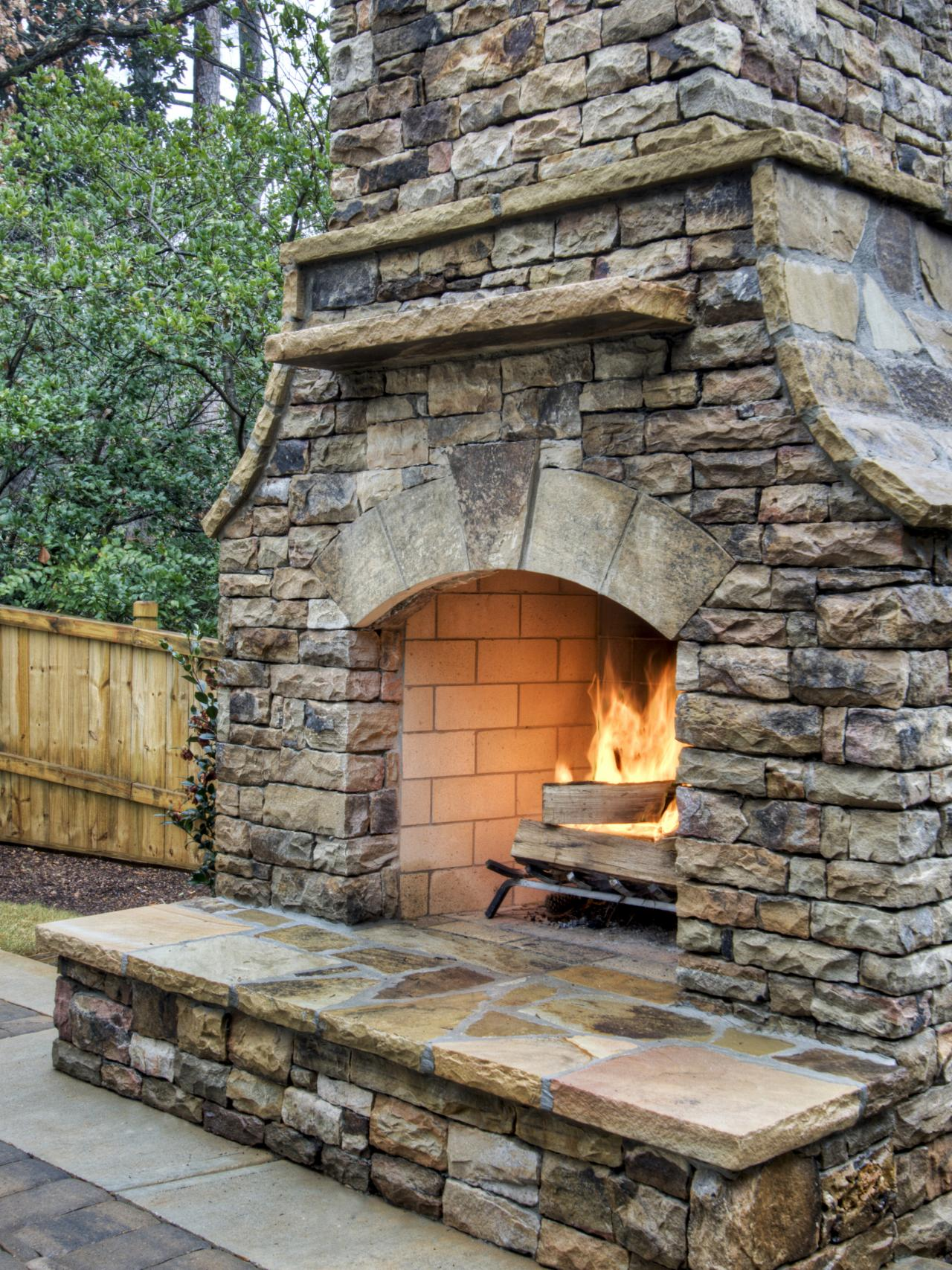 Cultured stone masonry fireplace