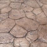 Random stone stamped concrete patio