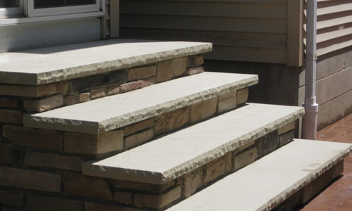 Front Masonry Step with sandstone threads
