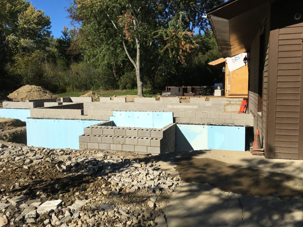 Block masonry for full basement addition in Pepper Pike, Ohio
