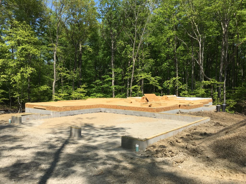 Masonry block foundation for new home