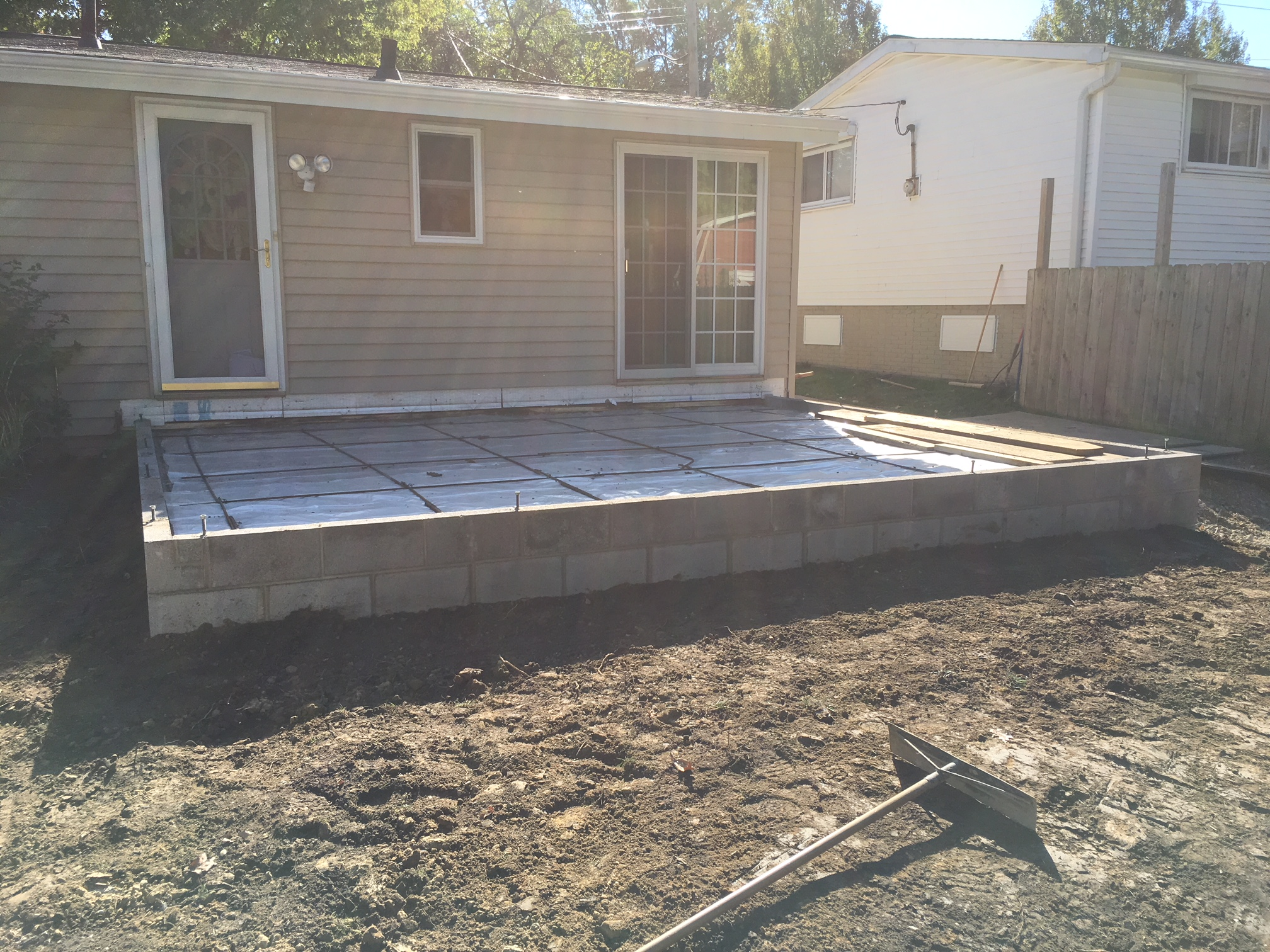 Masonry slab foundation for a new addition