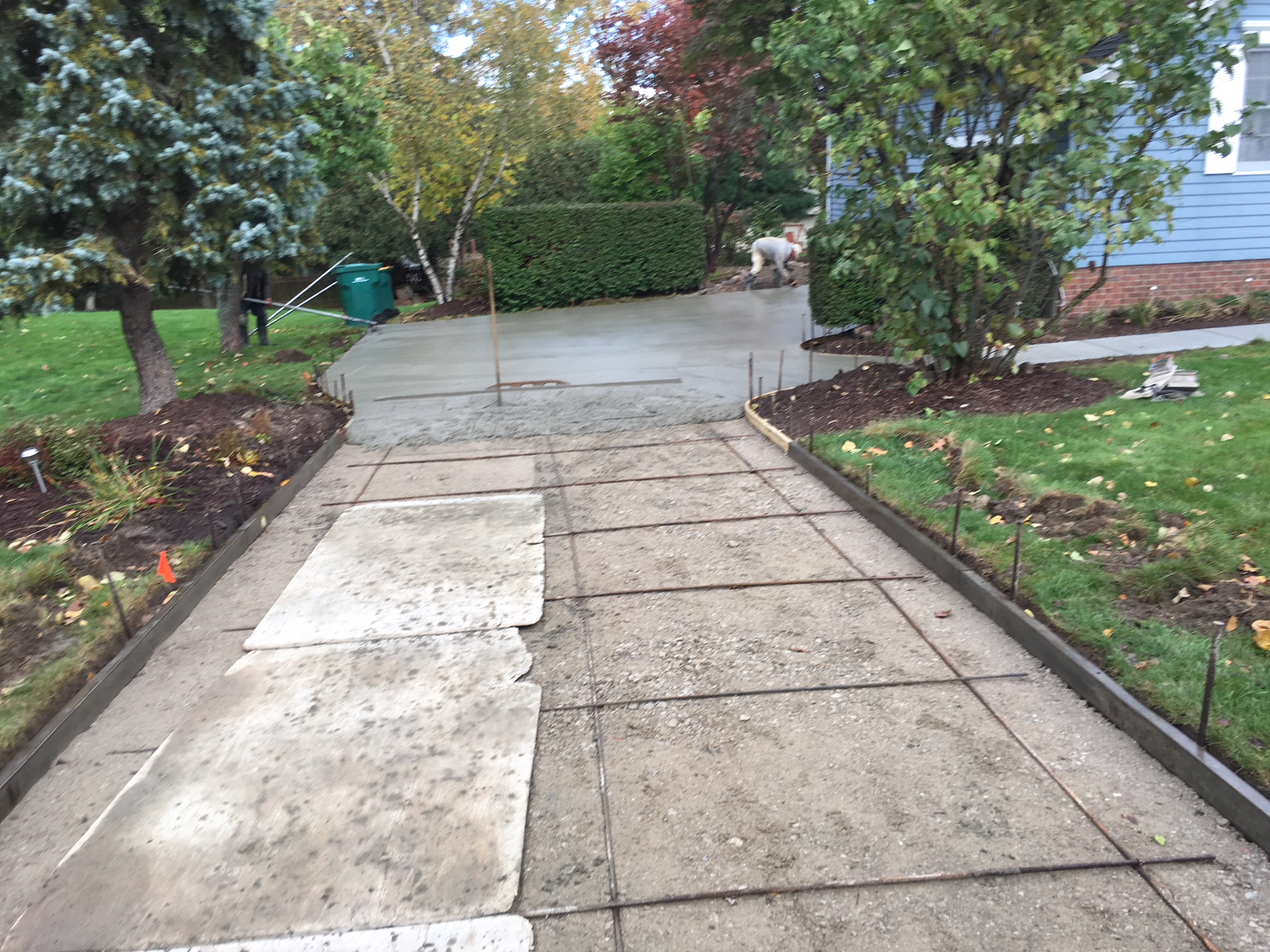 Placement of a concrete driveway