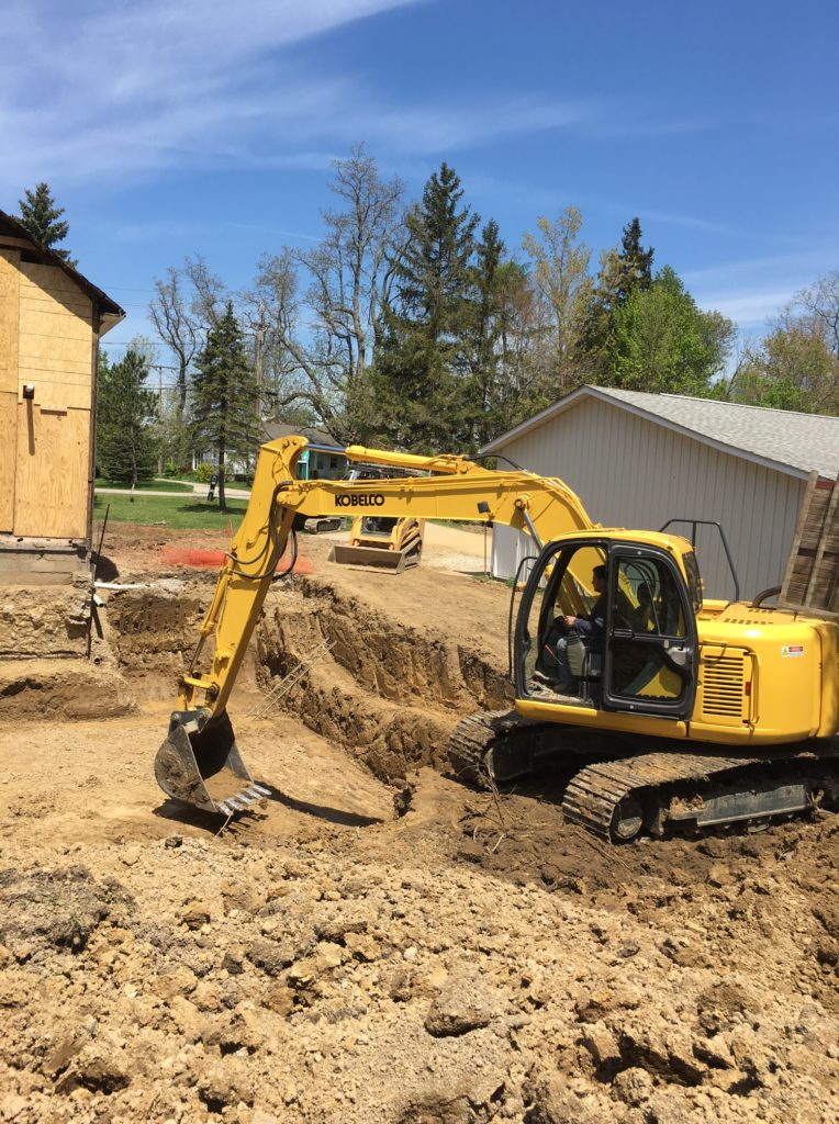Excavation for a masonry block foundation