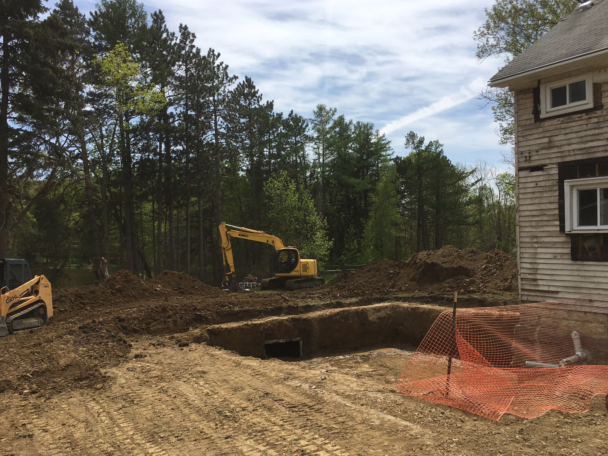 Excavation for a new masonry basement in Novelty, Ohio