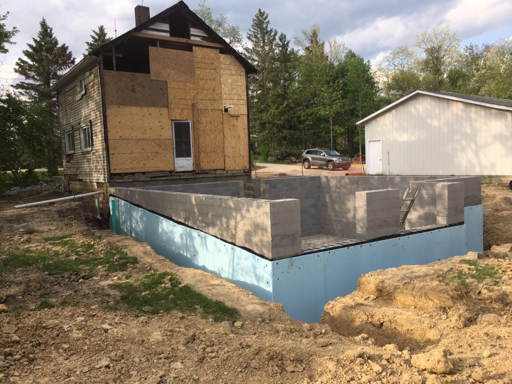Block basement for a house renovation addition