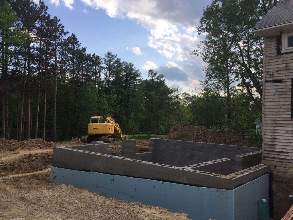 Basement foundation for an addition in Novelty, Ohio.
