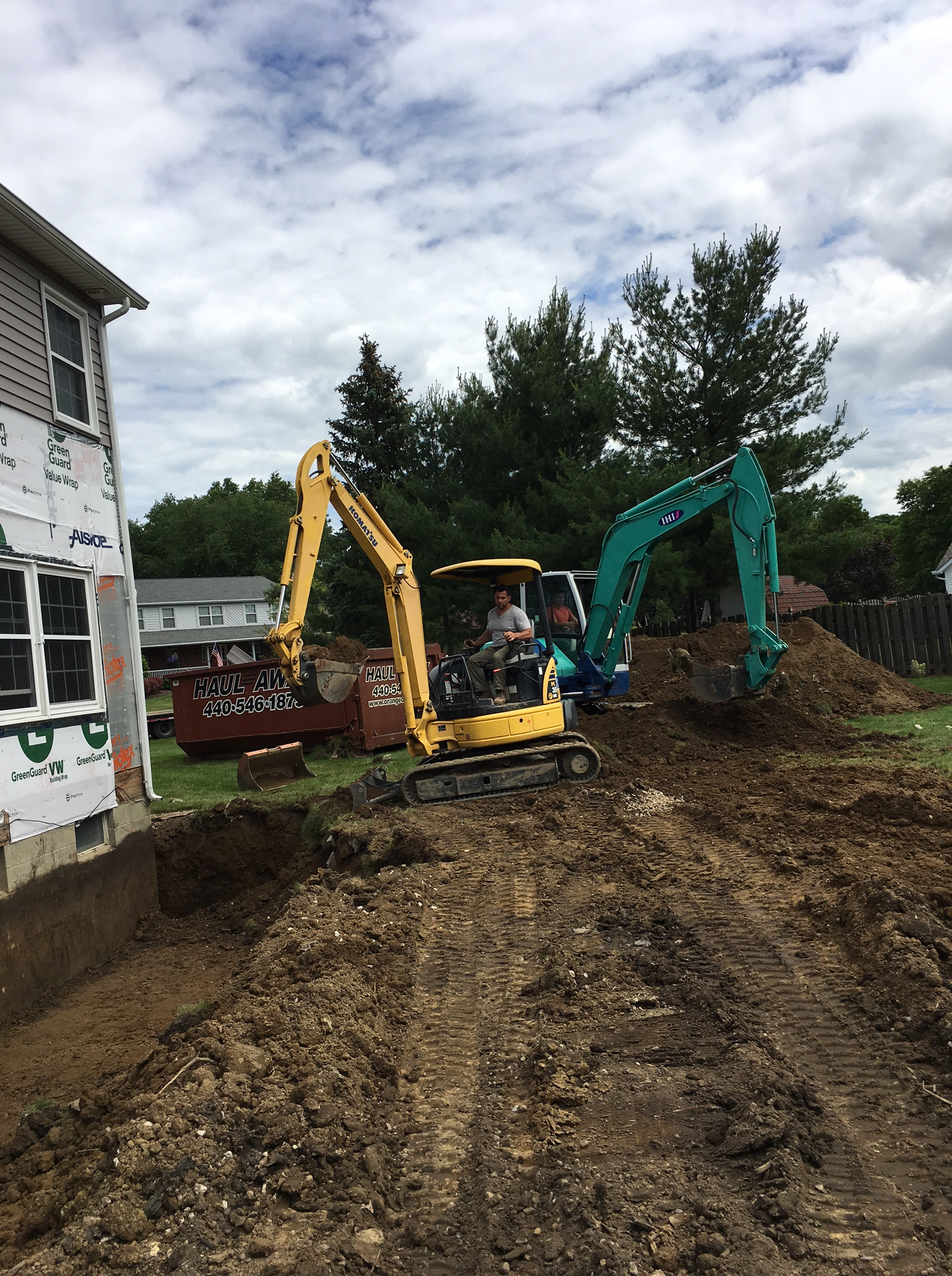 Excavation of a new crawl space foundation