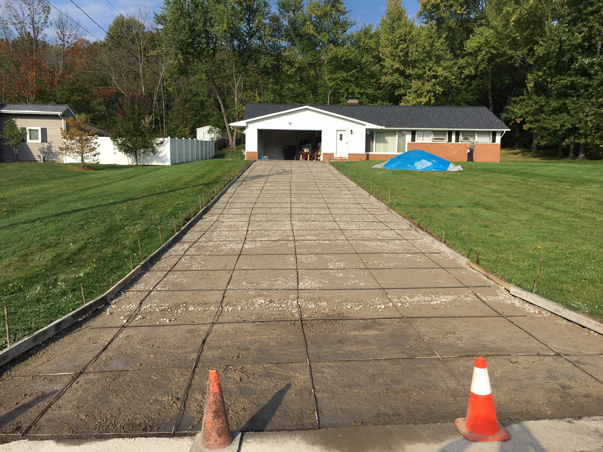 Concrete driveway removed and ready to pour