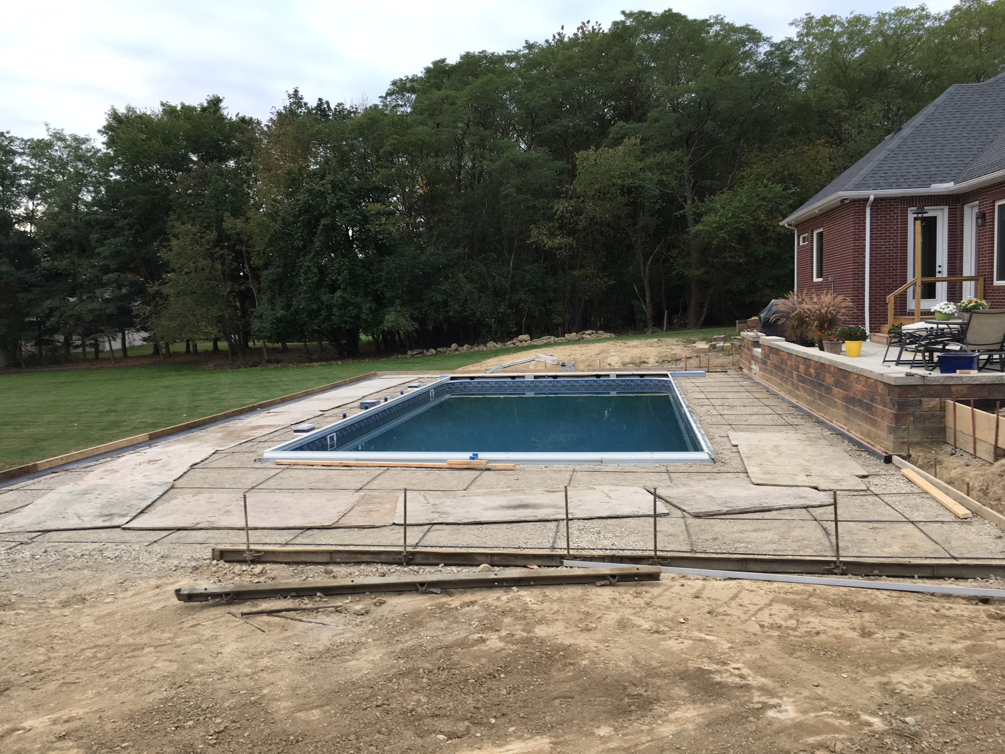 Concrete pool deck ready to pour