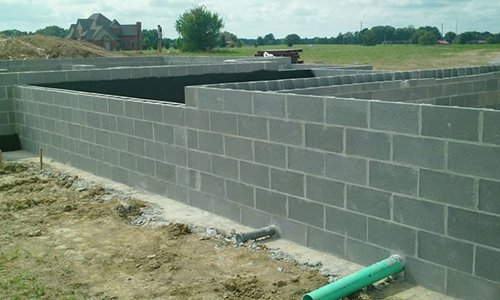 Block Masonry foundation for a new home